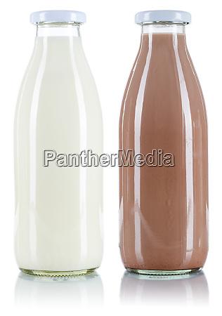 milch und schokolade trinken flasche isoliert