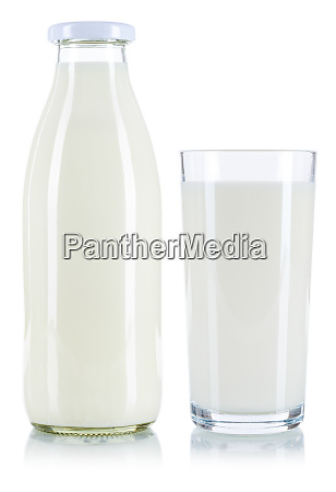 milk glass and bottle isolated on