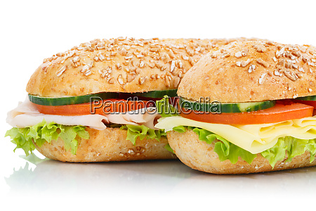 baguette sub sandwiches ham and cheese