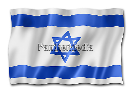 israelische flagge auf weiss isoliert