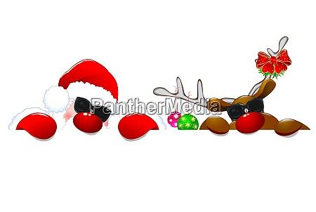 weihnachtsmann und rentiere in sonnenbrille 1