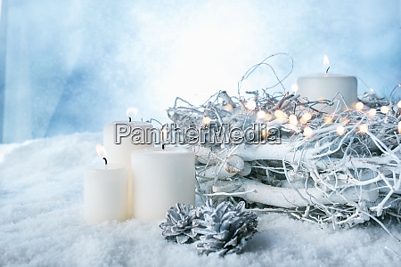white winter decoration in snow
