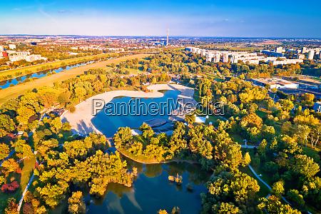 bundek lake and city of zagreb