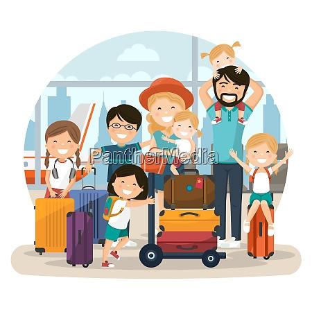 happy numerosa familia en el aeropuerto