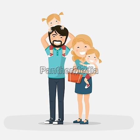 isolierte glueckliche familie mit kleinen zwillingen