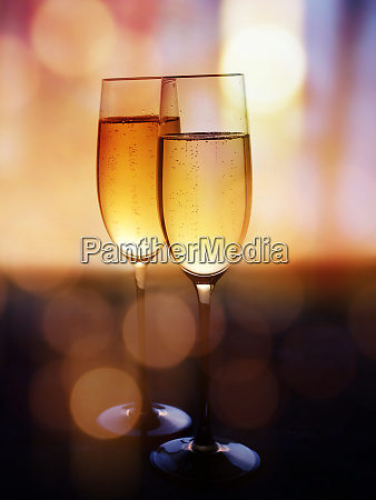 two champagne glasses to celebrate