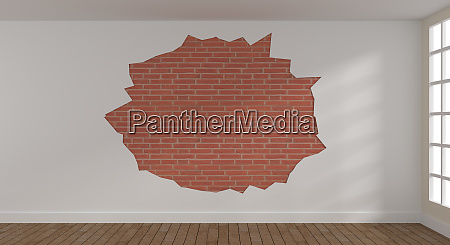bright room with brick wall 3d