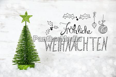 green tree snow calligraphy froheliche weihnachten