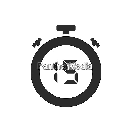 isolated stopwatch icon with fifteen seconds