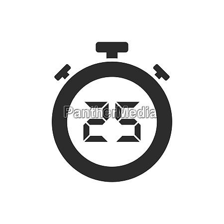 isolated stopwatch icon with twenty five