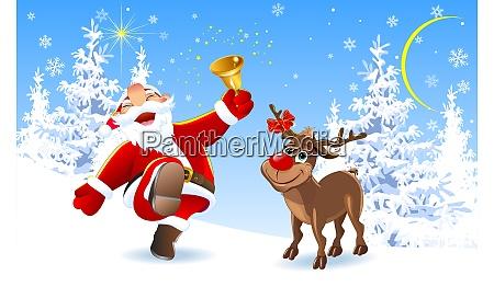froehlicher weihnachtsmann und rentier