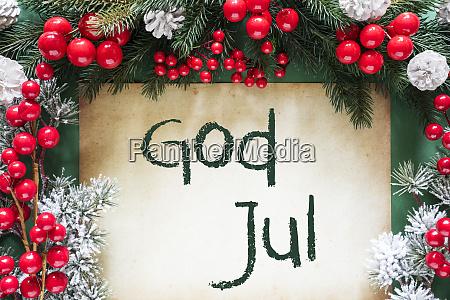 weihnachtsdekoration schwedischer text gott jul bedeutet
