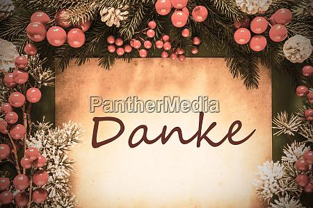 retro christmas decoration danke means thank