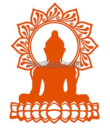 der buddhismus orange farbe meditiert macht