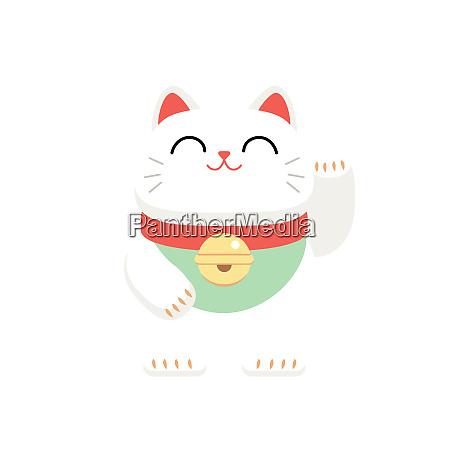 kaetzchen glueckskatze japan glueck weiss illustration