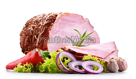 piece of ham isolated on white