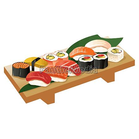 japanische kueche sushi kultur meeresfruechte setillustration