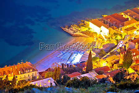 banje beach in dubrovnik aerial evening