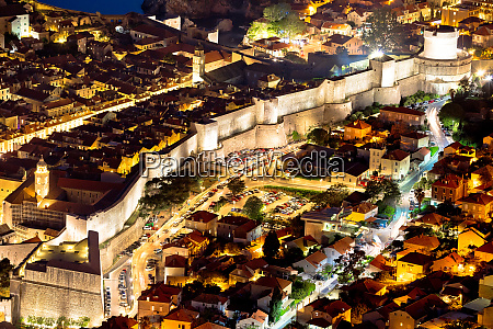dubrovnik city walls aerial evening view