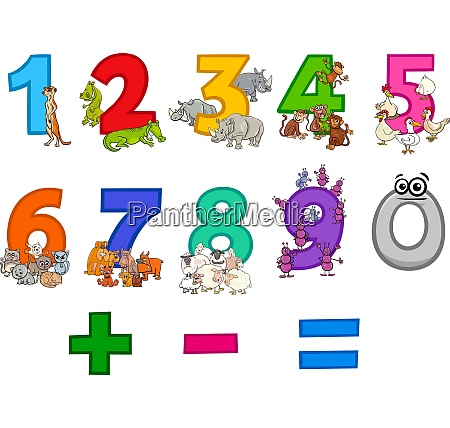 educational numbers set with funny cartoon