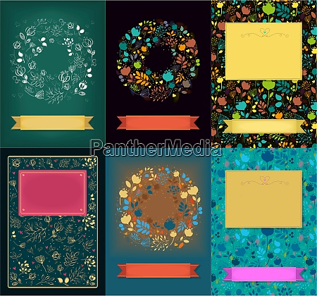 set of floral cards with banners