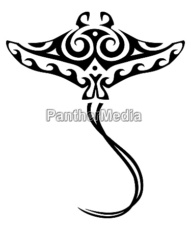 manta ray polynesian tribal tattoo traditional