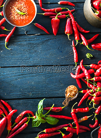 fresh red chili pepper spices on