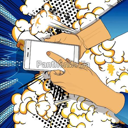 hand haelt smartphone mit weissem bildschirm