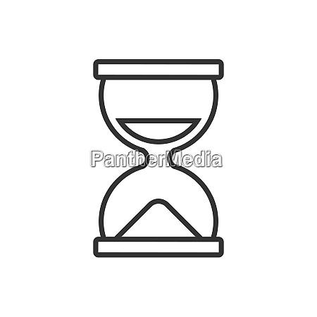 stundenglase line symbol auf weissem hintergrund