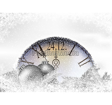 christmas time background with snowy clock