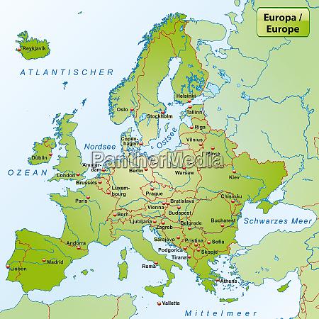 europakarte mit den hauptstaedten