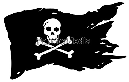 pirate flag crossbones warning wind ripped