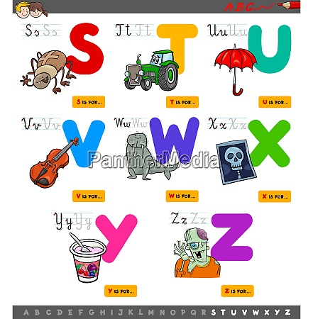 educational cartoon alphabet set for kids