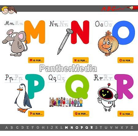 educational cartoon alphabet letters set
