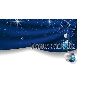 weihnachtlicher hintergrund mit blauen vorhaengen