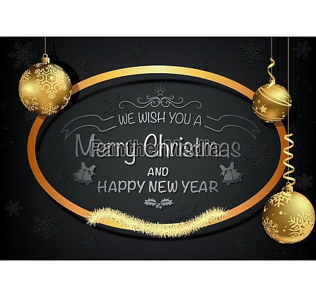dark christmas greeting card with golden