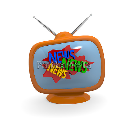 retro television with the words news