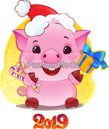 schwein mit geschenkbox fuer das neue