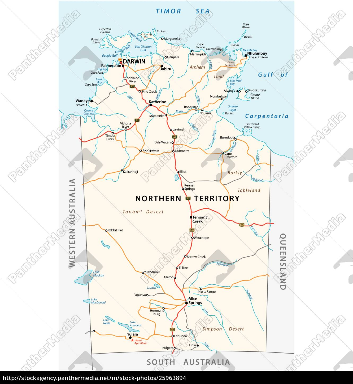 vektor-roadmap, des, northern, territory, australien - 25963894