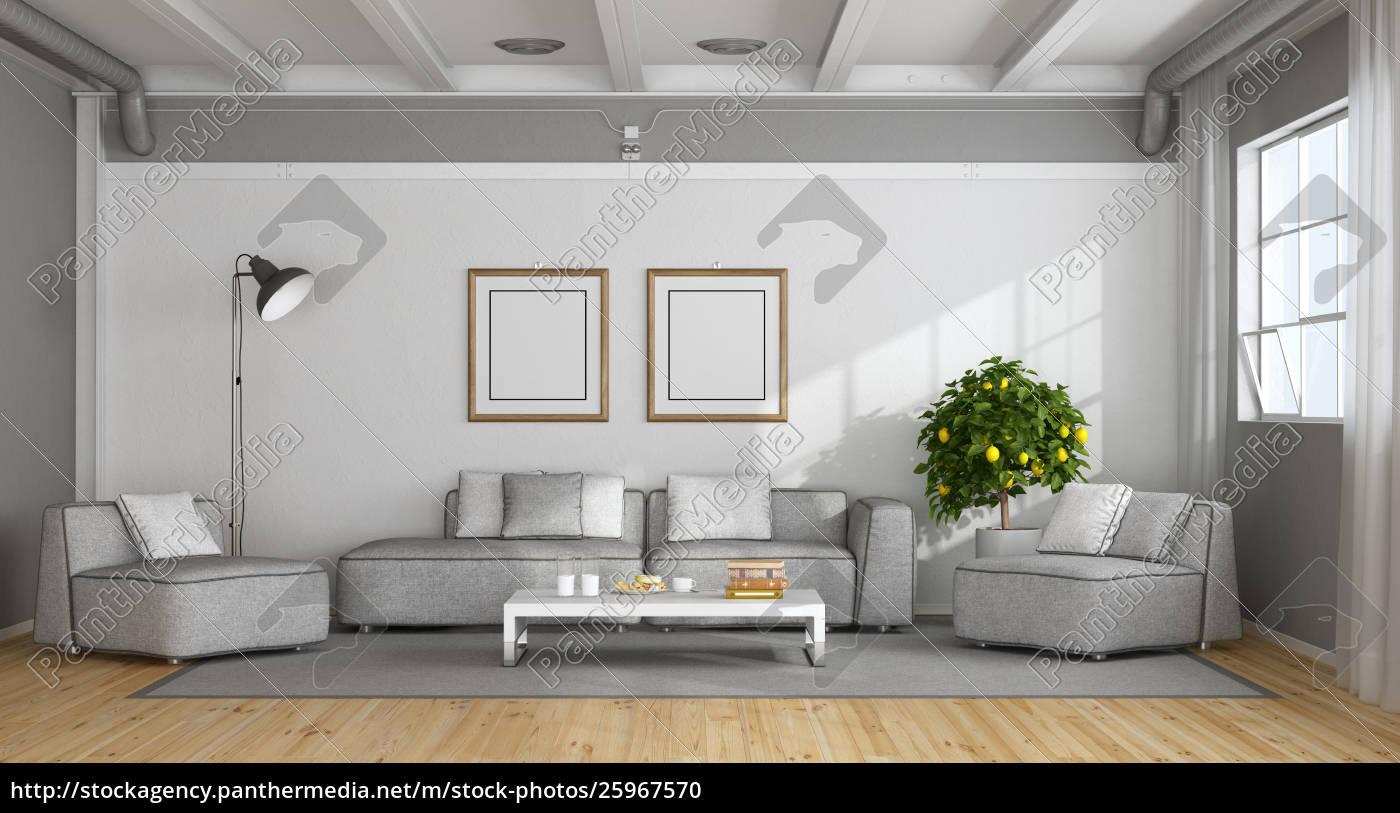Weißes Und Grau Modernes Wohnzimmer Stock Photo 25967570