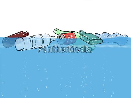 plastikmuell schwimmt im ozeanziehen