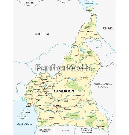 republik kamerun strasse und nationalpark vektorkarte