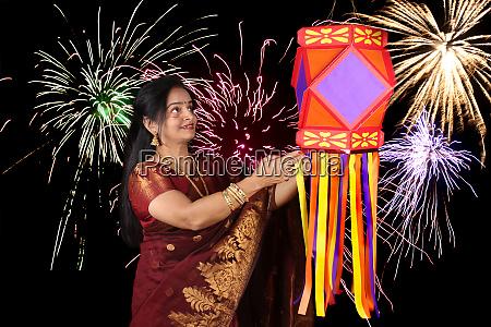 indian woman in diwali