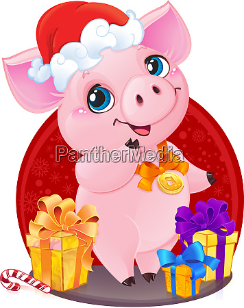 niedliches kleines ferkel mit weihnachtsgeschenken fuer