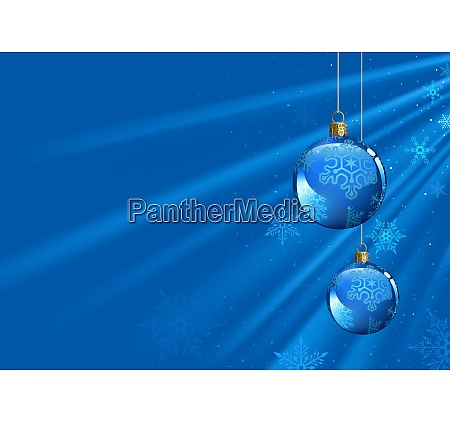 blue christmas background with baubles and