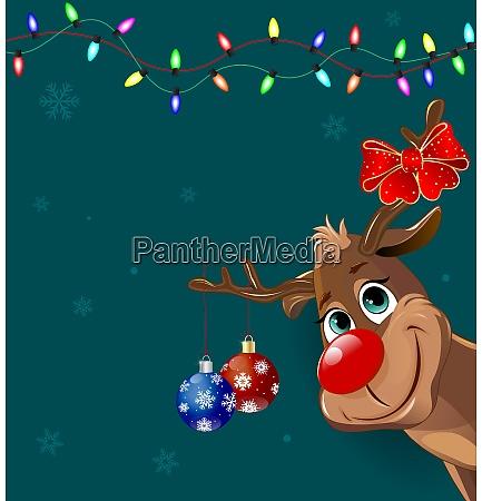 niedlicher hirsch mit weihnachtsdekoration