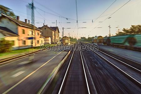 railway tracks blur