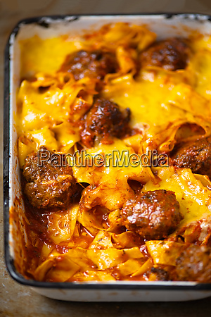 rustic baked italian meatball pappardelle pasta