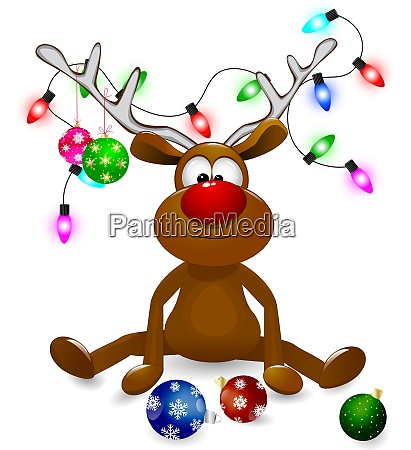 reindeer with christmas decorations