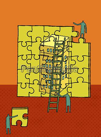 arbeiter bauen highrises raetsel auf